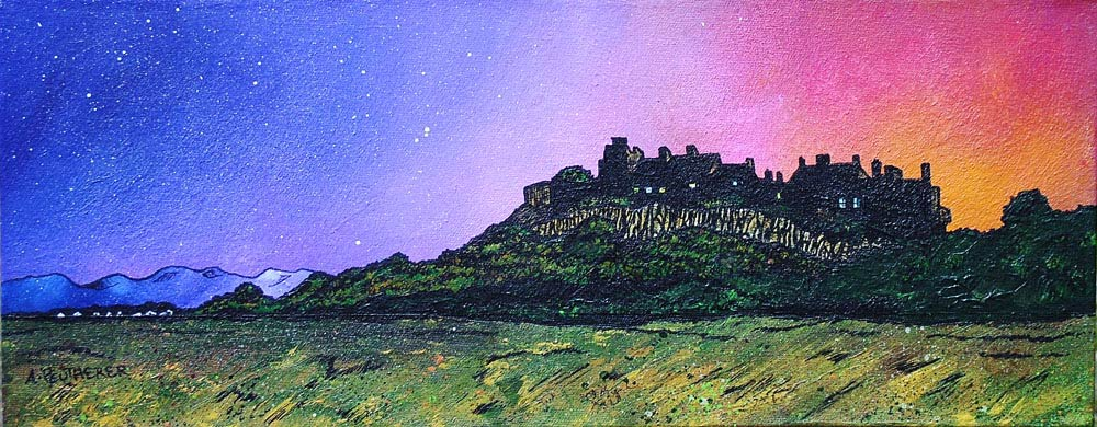 Contemporary Scottish landscape painting of  Stirling Castle Winter Sunrise