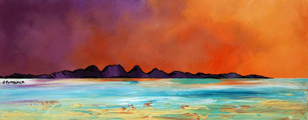 Contemporary Scottish landscape painting of Isle of Jura dusk from Ghia, Argyll, Scotland.