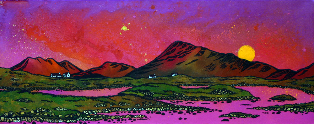 Scottish painting and prints of North Uist Pink Sunset Over Eaval (Eabhal), Hebrides, Scotland