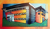 Contemporary abstract painting of  Cruden Group Head Quarters (commissioned for Cruden Group)