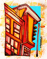 Abstract mixed media painting, Berkeley 1 , Modern Flat on end of Berkeley Street, Glasgow.