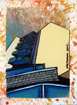 Contemporary abstract painting of  Calums Flat , Glasgow Clyde side.