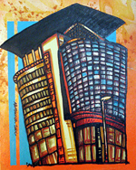 Contemporary abstract painting of  BT Building, Glasgow Clyde side.