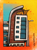 Contemporary abstract painting of  Partick Heights, Partick Cross, Byres Rd, Glasgow, West end.