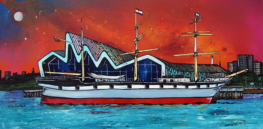 Abstract Contemporary painting of The Riverside Transport Museum and The Tall Ship, River Clyde, Glasgow Scotland