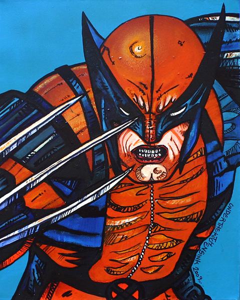 Contemporary mixed media painting of Wolverine.