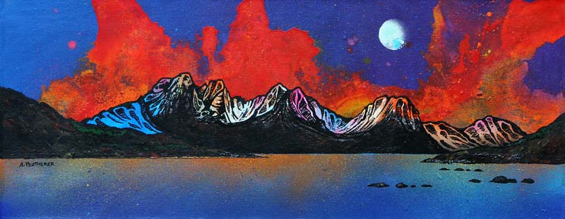 Contemporary Scottish landscape painting of Bla Bheinn Autumn Sunset, Isle of Skye, Scottish Western Isles.
