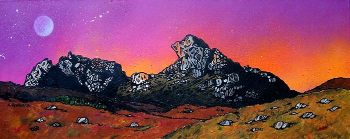 Contemporary Scottish landscape painting of  Cobbler (Ram's Head)  Winter Sunset, Arrochar, Scottish Western Highlands.