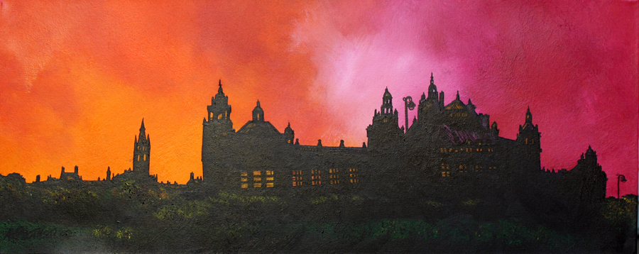 scottish contemporary landscape paintings gallery of Glasgow by Andy Peuthere