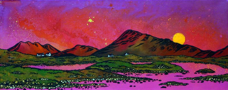 Contemporary Scottish landscape painting of North Uist Pink Sunset Over Eaval (Eabhal), Scottish Western Isles.
