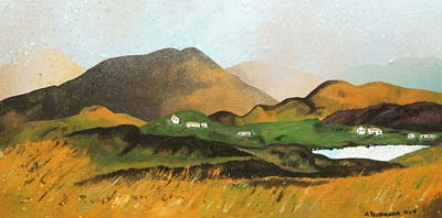 Abstract scottish landscape, mixed media painting. Over Laxay, Isle Of Lewis