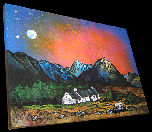 Contemporary Scottish landscape painting of  The Black Rock Cottage and The Buachaille, Glen Coe, Scottish Western Highlands.
