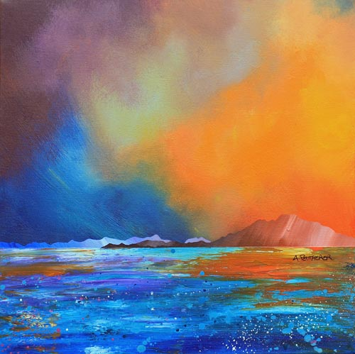 Contemporary Scottish landscape painting of Ord Bay Autumn Sunset, Isle Of Skye, Scottish Western Isles.