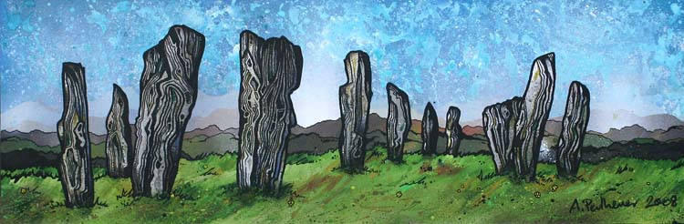 Contemporary Scottish Landscape painting of The Callanish Stones, Calanais, Isle Of Lewis, Outer Hebrides, Scotland.