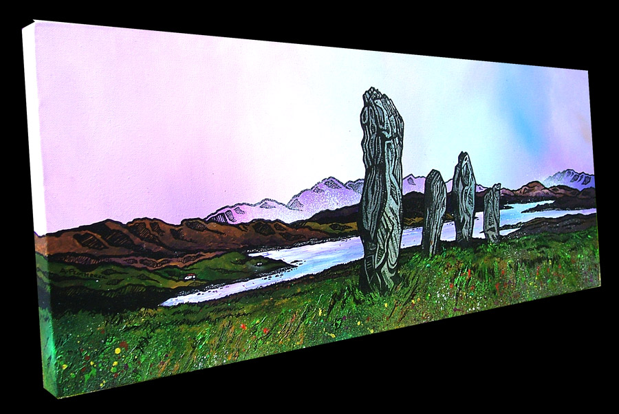 Scottish painting & prints of Callanais, Callanish Standing Stones, Isle Of Lewis, Scottish Outer Hebrides.