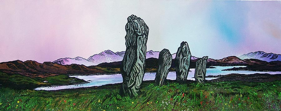Contemporary Scottish landscape painting of Winter Approaching Callanais, Callanish Standing Stones, Isle Of Lewis, Scottish Outer Hebrides.