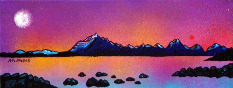 Contemporary Scottish landscape painting of Cuillin Purple Sunset, Isle Of Skye, Scottish Western Isles.