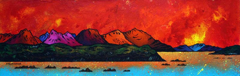 Contemporary Scottish landscape painting of The Isle of Skye from Mallaig, Scottish western Isles