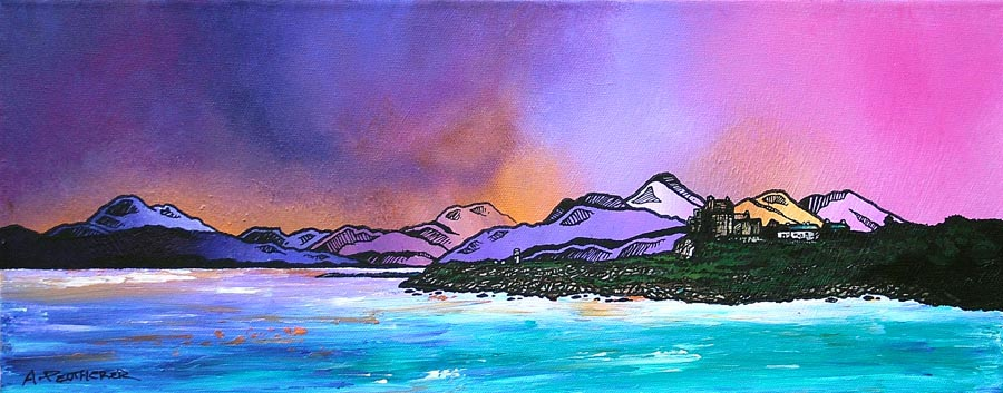 Contemporary Scottish landscape painting of Duart Castle Winter Sky, Isle Of Mull, Scottish Inner Hebrides.