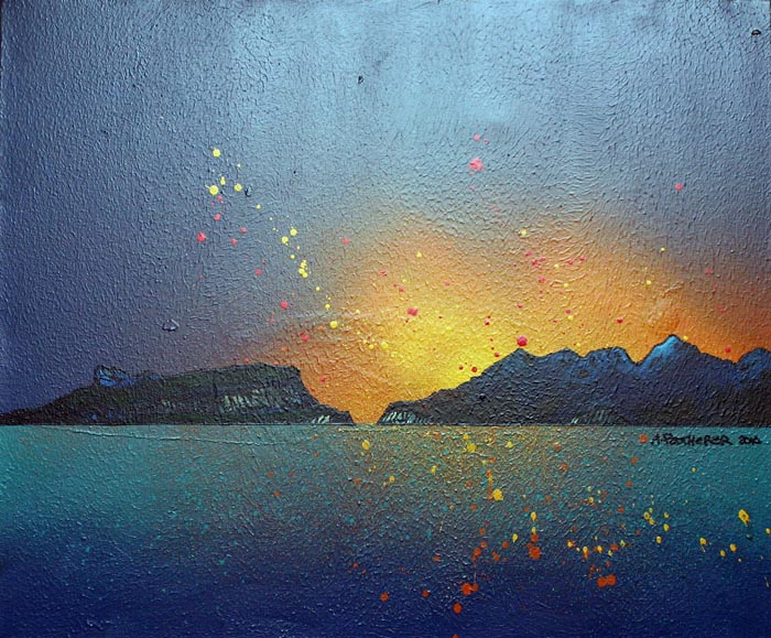 Contemporary Scottish landscape painting of Eigg and Rum, Scottish Western Isles..