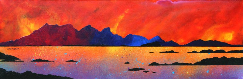 Contemporary Scottish landscape painting of The Isle of Rum Winter Sunset, Scottish western Isles.