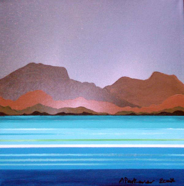 Abstract scottish landscape, mixed media painting.  Lewis.1, Isle of Lewis, Outer Hebrides