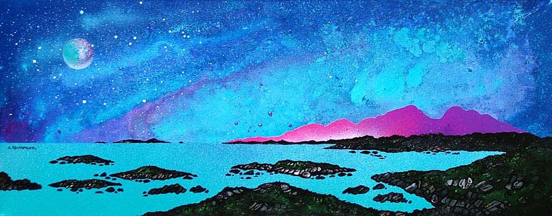 Contemporary Scottish landscape painting of Moon Light Over Rum And Sanna Bay, Ardnamurchan Peninsula.