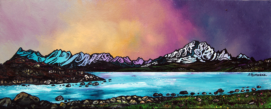 Contemporary Scottish landscape painting of a Sky winter Sunset, Cuillin mountains, Isle Of Skye, Scotland
