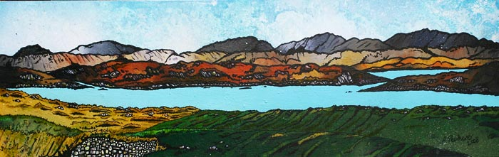 Contemporary Scottish landscape painting of Over The Peats, Loch Roag, Near Callanais, Isle Of Lewis, Scotland.