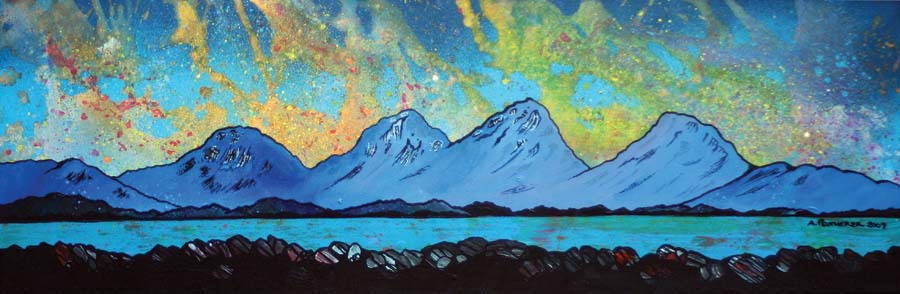 Contemporary Scottish landscape painting of The Paps of Jura from the Isle of Mull, Isle Of Jura, Scottish Inner Hebrides, Scotland