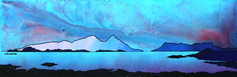 Contemporary Scottish landscape painting of The Isle of Rum and Eigg from Sanna Bay, Scottish western Isles.