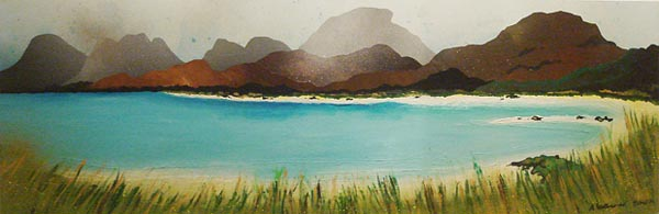 Abstract scottish landscape, mixed media painting.  Seilebost, Isle of Harris, Outer Hebrides
