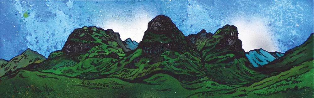 Contemporary Scottish landscape painting of The Three Sisters Of Glen Coe, Scottish Highlands