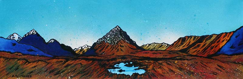Contemporary Scottish landscape painting of Towards The Buachaille, Rannoch Mor, Glen Coeand Glen Etive, Scotland.