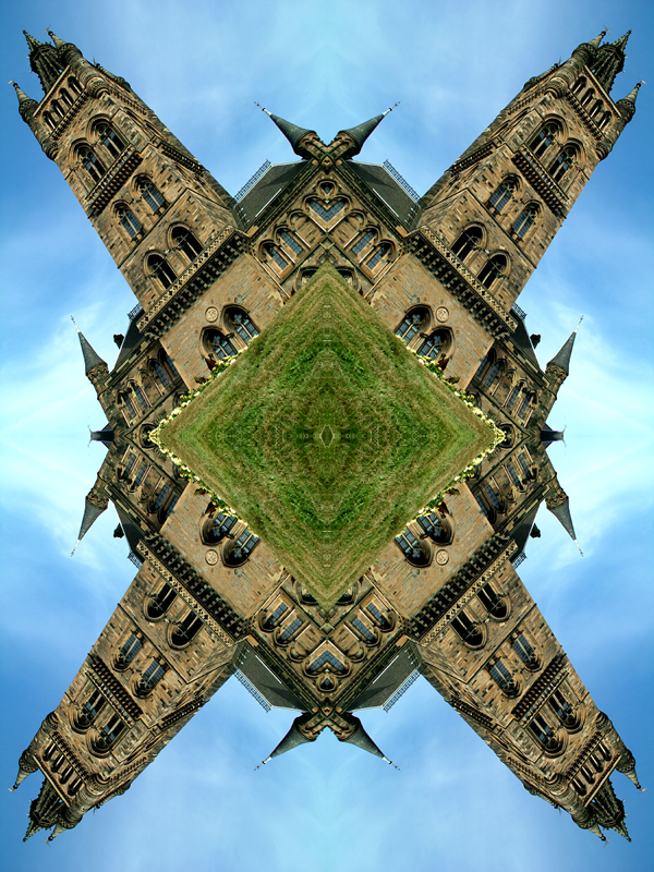 Abstract photography print of  Glasgow University tower