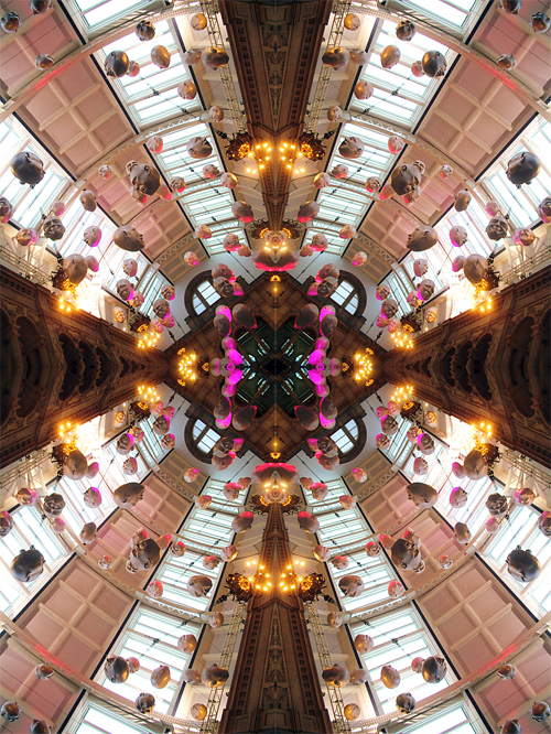 Abstract photography print of  Floating Heads X, Kelvingrove Museum and Art Gallery, Glasgow, Scotland.