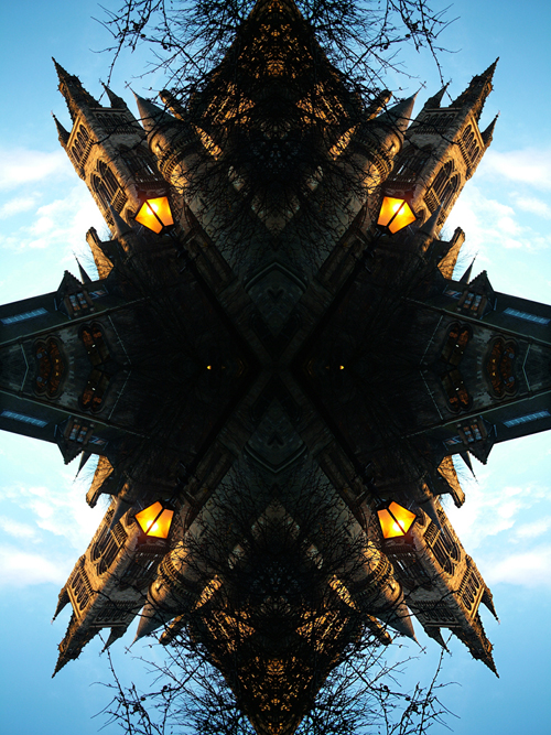 Abstract photography print of  Glasgow university Tower and Lamp